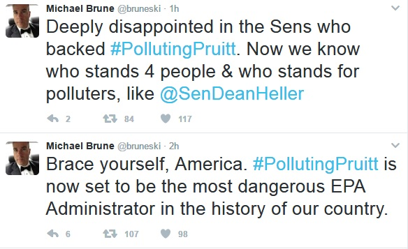 Sierra Club Executive Director of the Sierra Club reacted to the news of Pruitt's confirmation on Twitter expressing disappointment with the vote.