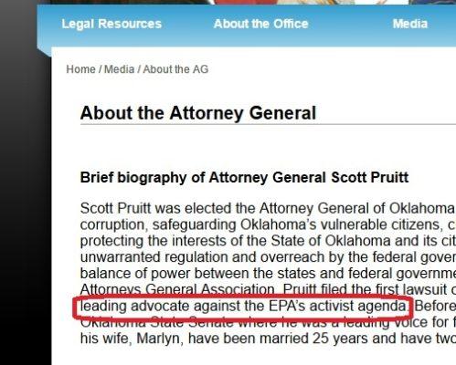 Former Oklahoma Attorney General Scott Pruitt Statement on Environmental Protection Agency.
