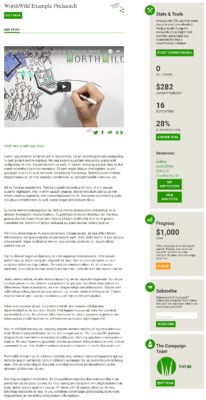 WorthWild Prelaunch Example Page. WorthWild offers fee-free crowdfund platform for environmental causes.