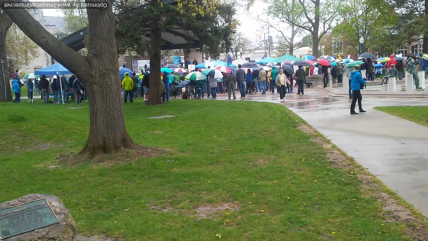Crowd gatered at Bronson Park in Kalamazoo Michigan for 2017 People's Climate March, Kalamazoo, MI