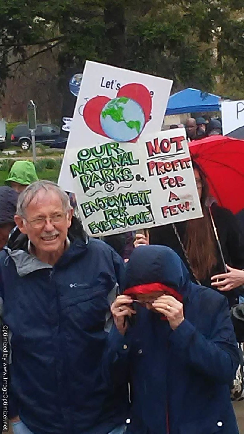 Activists with Signs at 2017 People's Climate March, Kalamazoo, MI