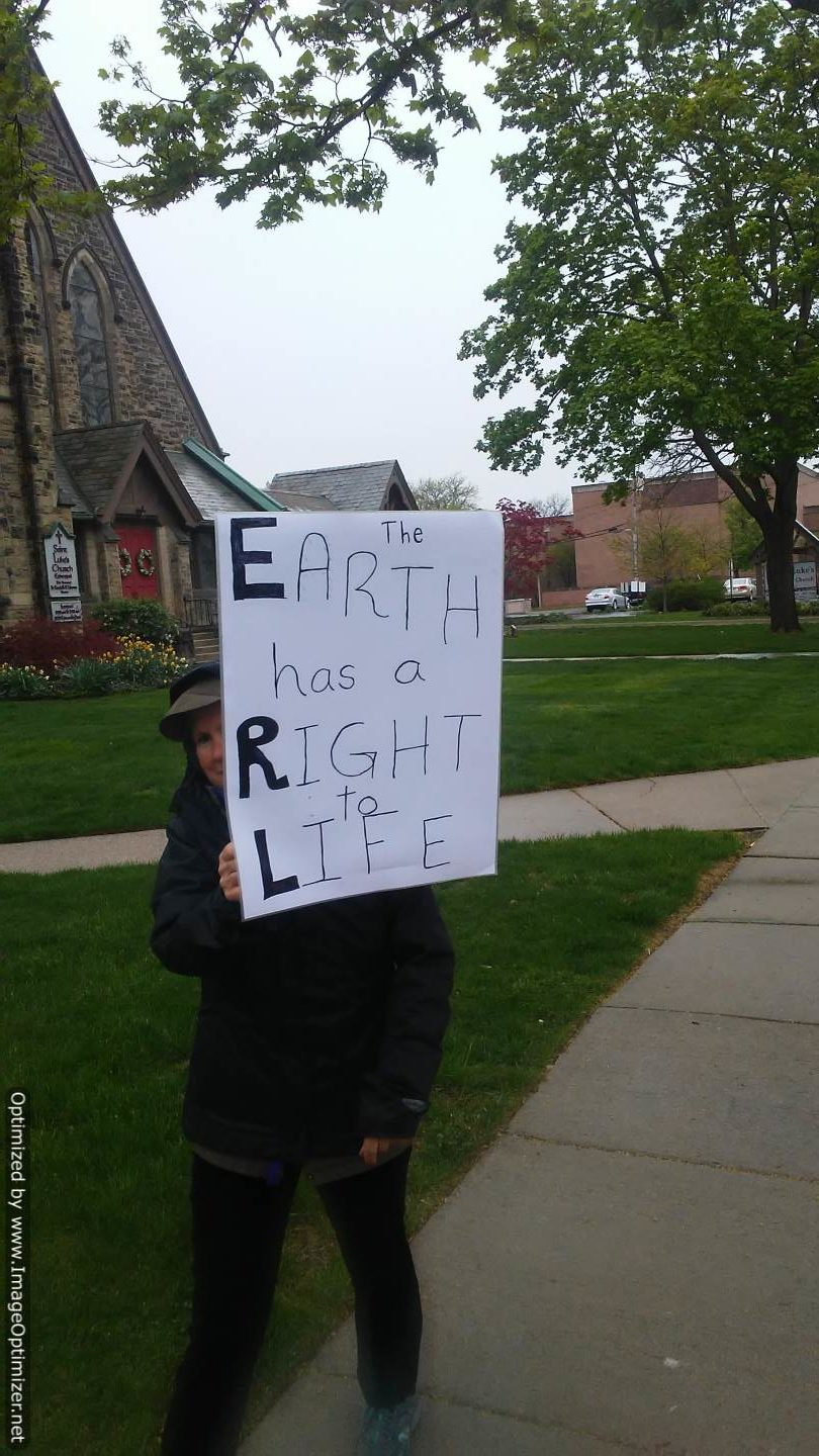 Activist with Earth Right to Life Sign at 2017 People's Climate March, Kalamazoo, MI